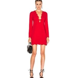 A.L.C. Eve Red Scalloped Crimson Cocktail Dress